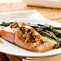 Honey-Dijon Alaska Salmon with Asparagus and Walnuts